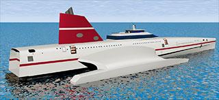 Image de synthèse du BGV 170 en mer, développé par le Bureau Gilles Vaton