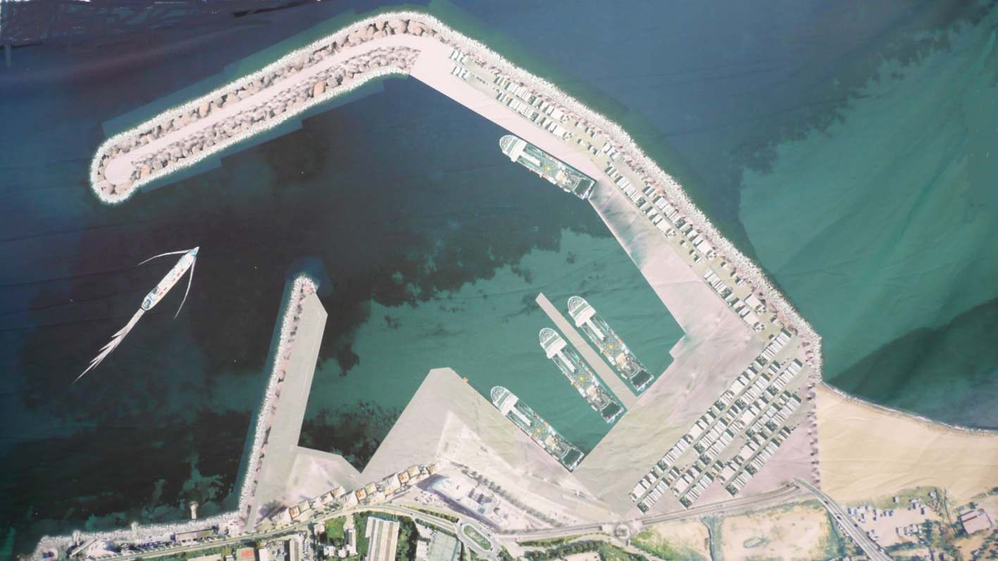 Vue d'artiste du projet de port à la Carbonite et de ses 7 postes à quai ; 4 sont occupés ici par des navires similaires au Kalliste tandis que le Corsica Victoria est représenté dans la passe d'entrée du port.