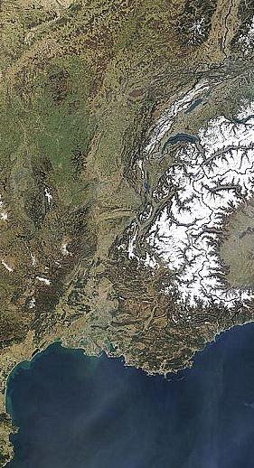 Vallée du Rhône par satellite