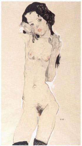 Egon Schiele, Nu à la chevelure noire (debout), 1910