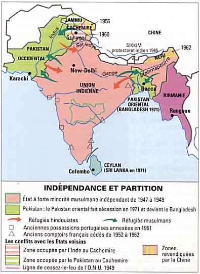 Carte Du Partage De Linde En 1947.Gandhi